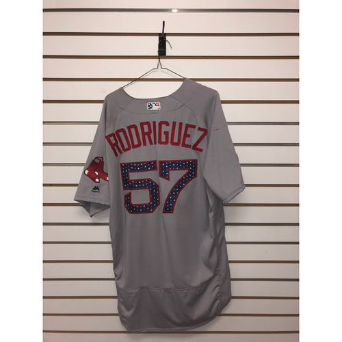 Photo of Eduardo Rodriguez Game-Used July 4, 2018 Stars and Stripes Road Jersey