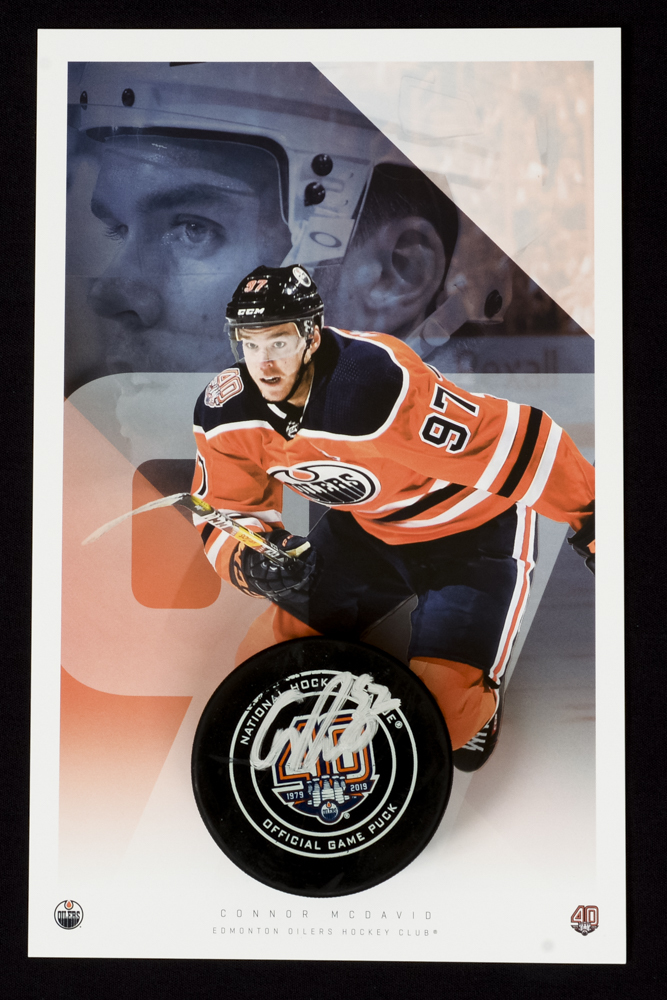 Connor McDavid #97 - Autographed 93rd NHL Career Regular Season Edmonton Oilers Goal Puck Scored On October 25, 2018 vs. Washington (Sixth Of Season) - Includes Bonus Oversized Player Card