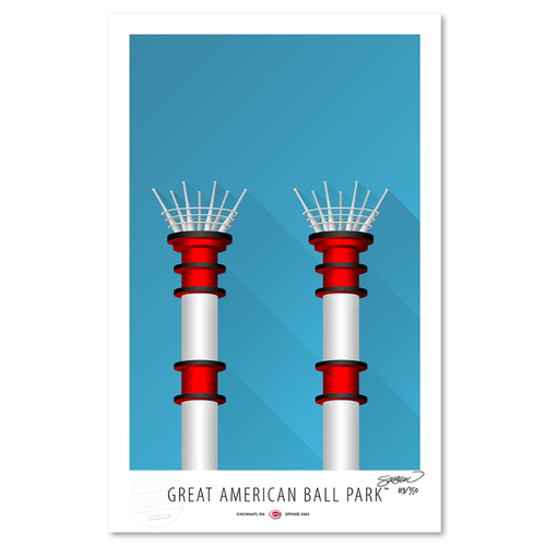 Photo of Great American Ball Park- Collector's Edition Minimalist Art Print by S. Preston #119/350  - Cincinnati Reds