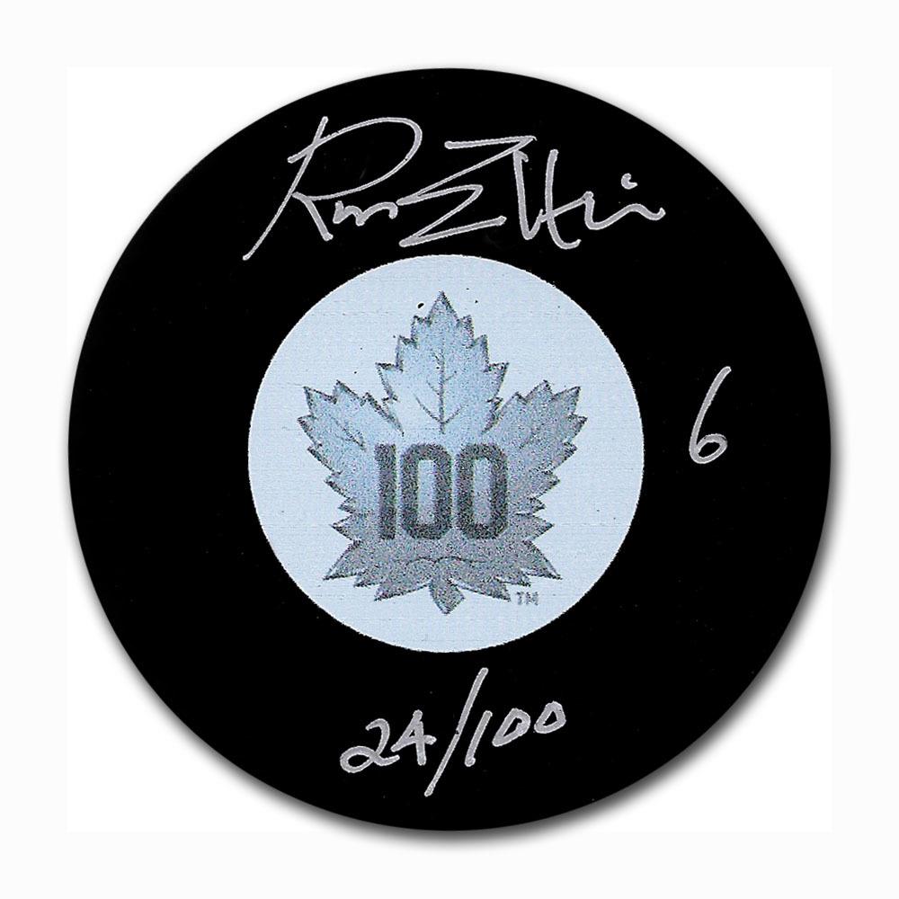 Ron Ellis Autographed Toronto Maple Leafs Centennial Puck w/24/100 Inscription