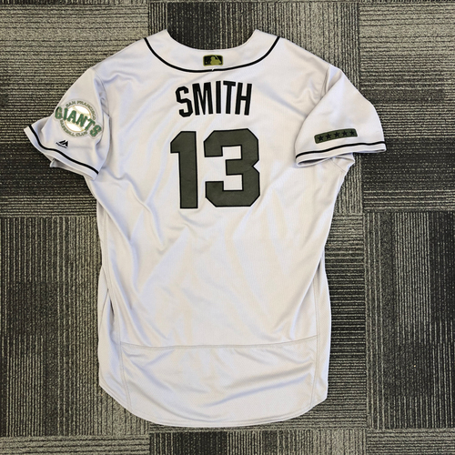 Photo of 2018 Game-Used Memorial Day Road Jersey worn by #13 Will Smith on 5/26 & 5/27 vs. Chicago Cubs & 5/28 vs. Colorado Rockies