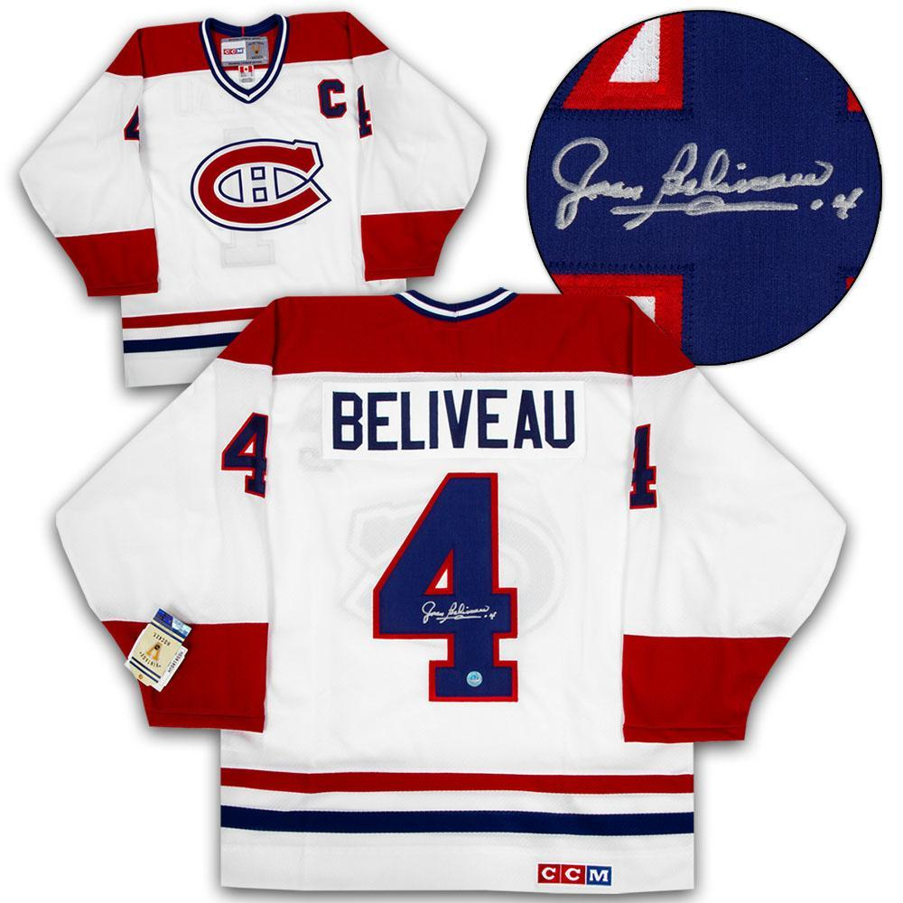 09bb3b4044b Jean Beliveau Montreal Canadiens Signed White Final Season CCM Vintage  Hockey Jersey