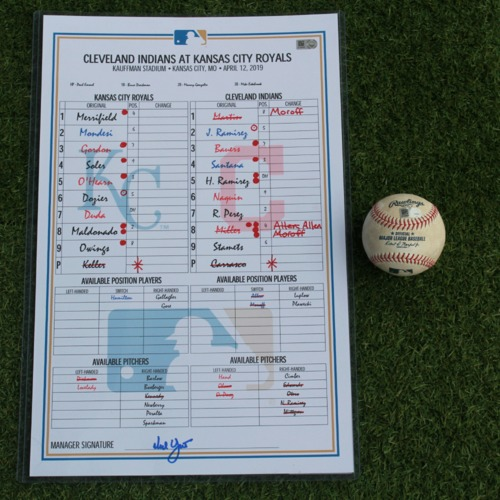 Photo of Game-Used Baseball and Line-Up Card: Whit Merrifield 100th Double (CLE @ KC - 4/12/19)