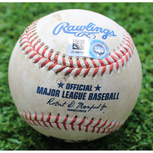 Photo of Game-Used Baseball: Jeimer Candelario 47th Career Double and 88th, 89th and 90th Career RBI (DET @ KC - 7/14/19)