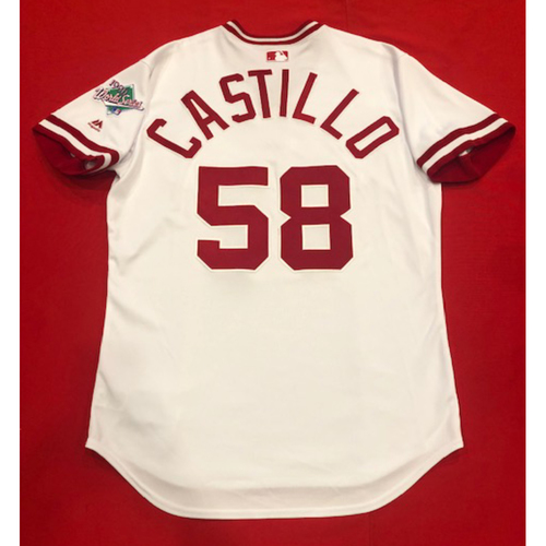 Photo of Luis Castillo -- Team Issued 1990 Throwback Jersey -- Cardinals vs. Reds on Aug. 18, 2019 -- Jersey Size 46