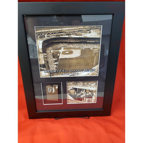 Photo of Framed Piece of Crosley Field Dugout Bench