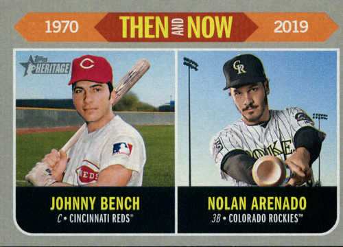 Photo of 2019 Topps Heritage Then and Now #TN6 Johnny Bench/Nolan Arenado