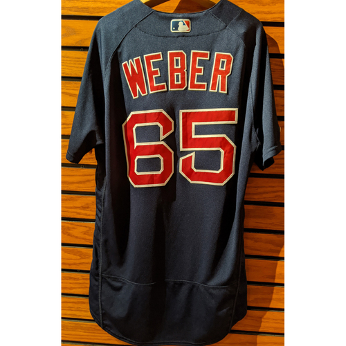 Photo of Ryan Weber #65 Game Used Navy Road Alternate Jersey