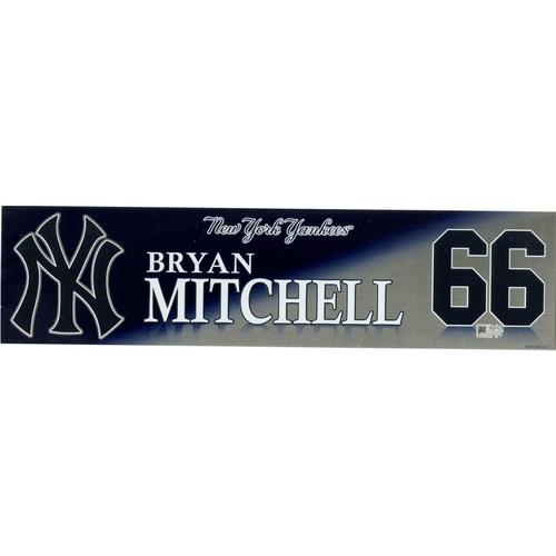 Photo of Bryan Mitchell New York Yankees 2017 Game-Used #66 Locker Room Nameplate (10/1/2017)