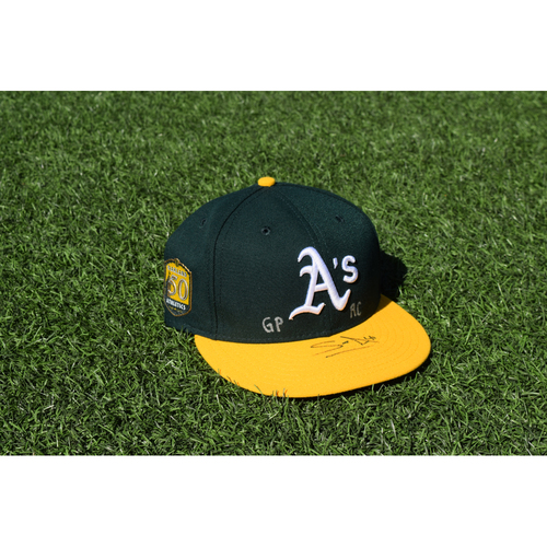 Photo of Oakland Athletics Game Used Autographed Sean Manaea 50th Anniversary Cap