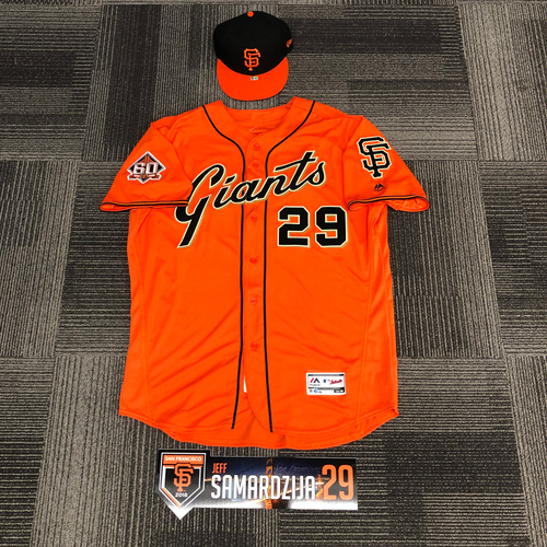 Photo of 2018 Team Issued Orange Friday Set - #29 Jeff Samardzija -  Set Includes Orange Home Alternate Jersey, Orange Bill Cap & Regular Season Locker Tag - Jersey Size 50 & Cap Size 7 3/8