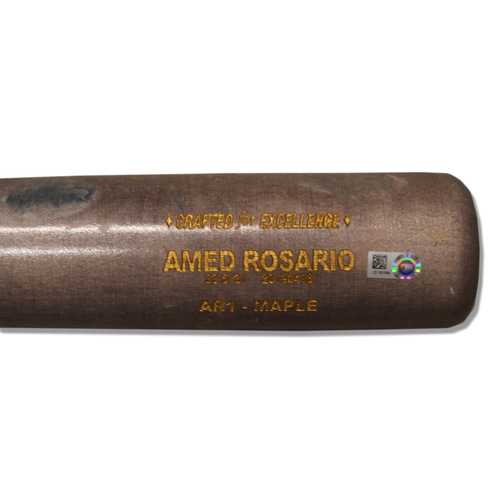 Photo of Amed Rosario #1 - Game Used Cracked Grey and Brown Cooperstown Bat with Yellow Lizard Skin - Mets vs. Brewers - 4/27/19