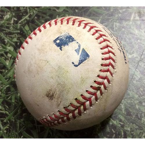 Photo of Game-Used Baseball CIN@MIL 07/22/19 - Jeremy Jeffress - Nick Senzel: Single