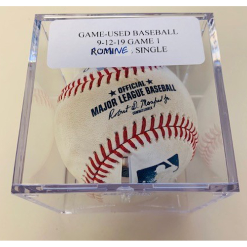 Game-Used Baseball: Austin Romine Single