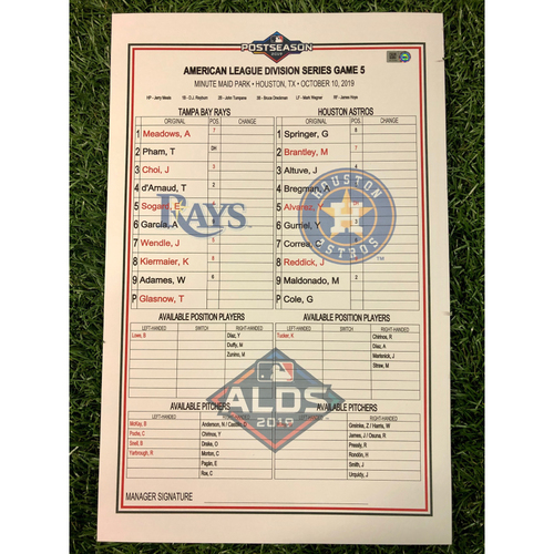 Photo of ALDS Game 5 Replica Lineup Card: Gerrit Cole (W, 8.0IP, 10 SO) and Michael Brantley (1), Jose Altuve (3) and Eric Sogard (1) Home Runs - October 10, 2019 v HOU