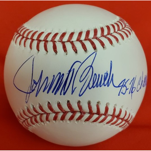 "Photo of Johnny Bench Autographed Baseball with Inscription ""75-76 Champs"""