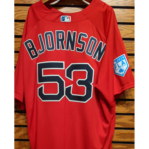 Photo of Coach Craig Bjornson #53 Team Issued 2019 Spring Training Red Jersey