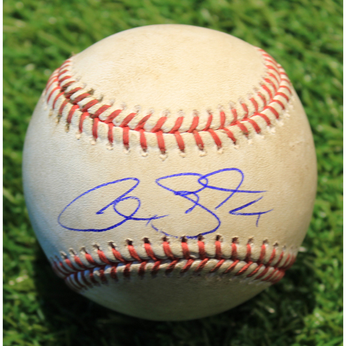 Photo of Autographed Game-Used Baseball: Alex Gordon 1,642nd Career Hit (Final Series of Career - DET@KC 9/25/20)