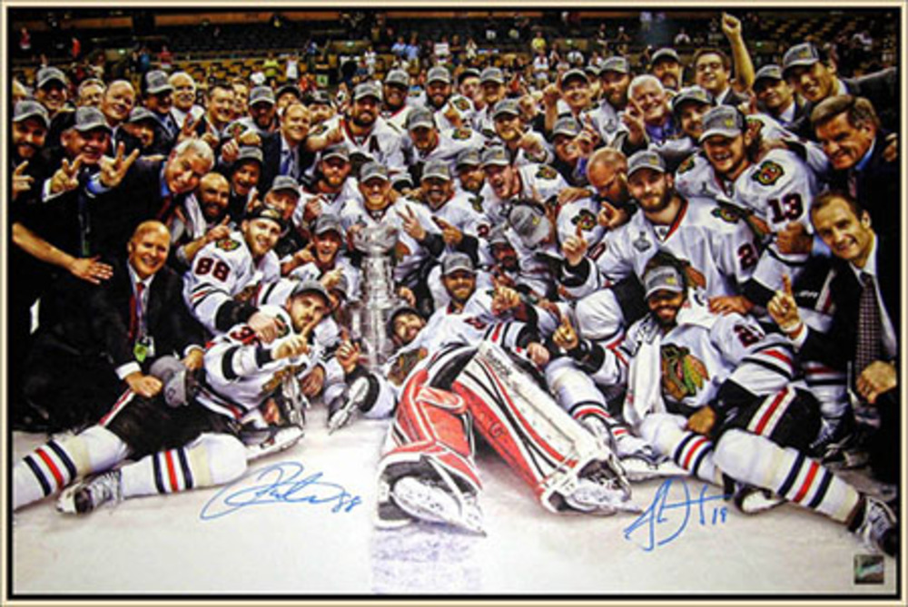Patrick Kane & Jonathan Toews - Dual Signed & Framed Canvas - Team Celebration 2013 Stanley Cup