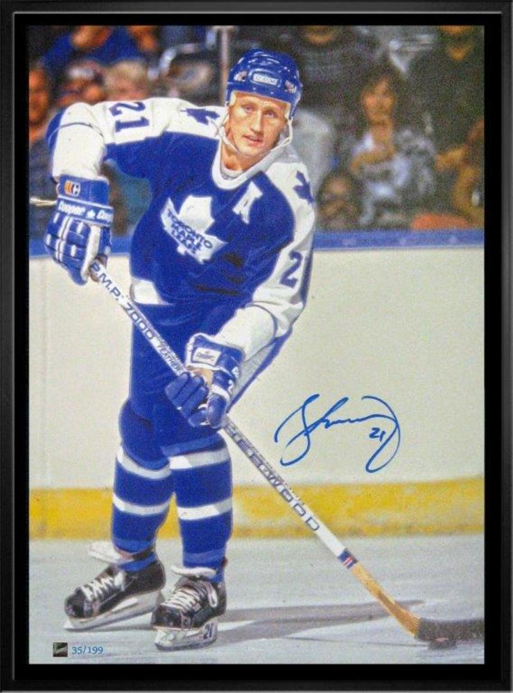 Borje Salming Signed 20x29 Canvas Framed Leafs Blue Action