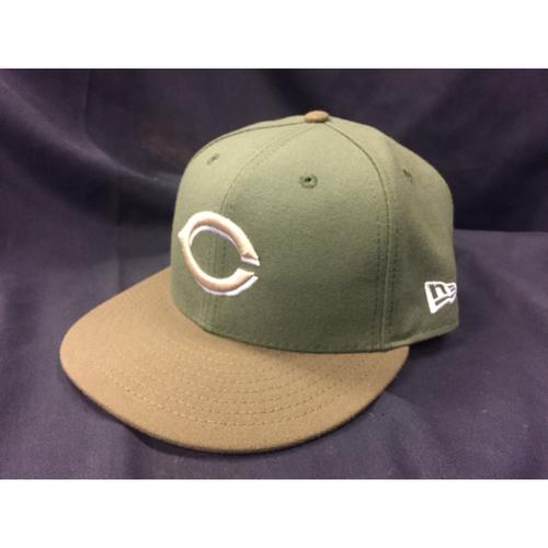 Joey Votto's Hat worn during Scooter Gennett's Historical 4-Home Run Game on June 6, 2017 (Starting 1B, Scored on Gennett's 3rd-Inning Grand Slam)