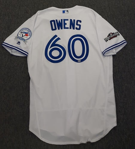 Photo of Authenticated Game Used Postseason Jersey - #60 Eric Owens (October 17, 2016: ALCS Game 3). Size 48.