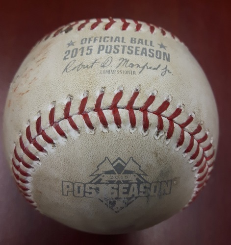 Photo of Authenticated Game Used Postseason Baseball (2015 ALCS Game 4) - Baseball from the game in which Cliff Pennington became the first full-time position player in history to pitch in a postseason game.
