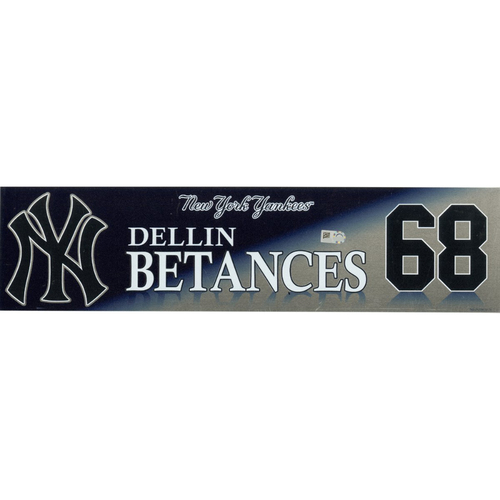 Photo of Dellin Betances New York Yankees 2017 Game-Used #68 Locker Room Nameplate (10/1/2017)