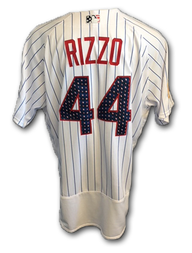 Photo of Anthony Rizzo Stars and Stripes Game-Used Jersey -- Tigers vs. Cubs -- 7/4/18