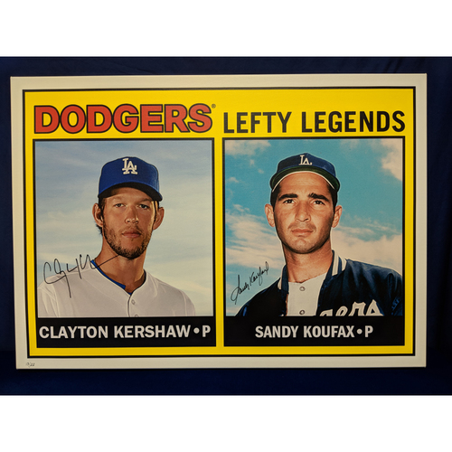 Photo of Kershaw's Challenge: Clayton Kershaw and Sandy Koufax Autographed Topps Card Canvas - Koufax autograph is not MLB Authenticated