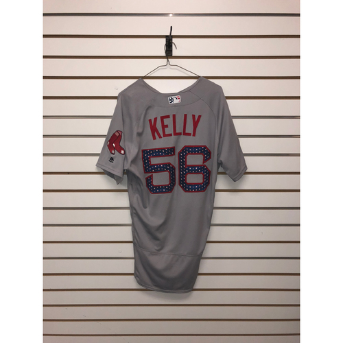 Photo of Joe Kelly Game-Used July 4, 2018 Stars and Stripes Road Jersey