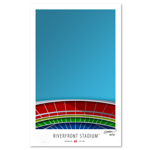 Photo of Riverfront Stadium- Collector's Edition Minimalist Art Print by S. Preston #119/350  - Cincinnati Reds