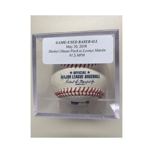 Photo of Game-Used Baseball: Shohei Ohtani Pitch to Leonys Martin 91.5 MPH