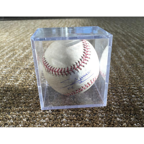 Photo of Miguel Sano Debut Autographed Game-Used Baseball