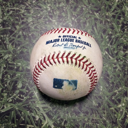 Photo of Game-Used Baseball STL@MIL 03/31/19 - Jordan Hicks - Ben Gamel: Double