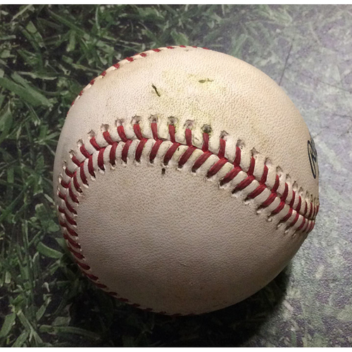 Photo of Game-Used Baseball ATL@MIL 07/17/19 - Josh Tomlin - Keston Hiura: Double