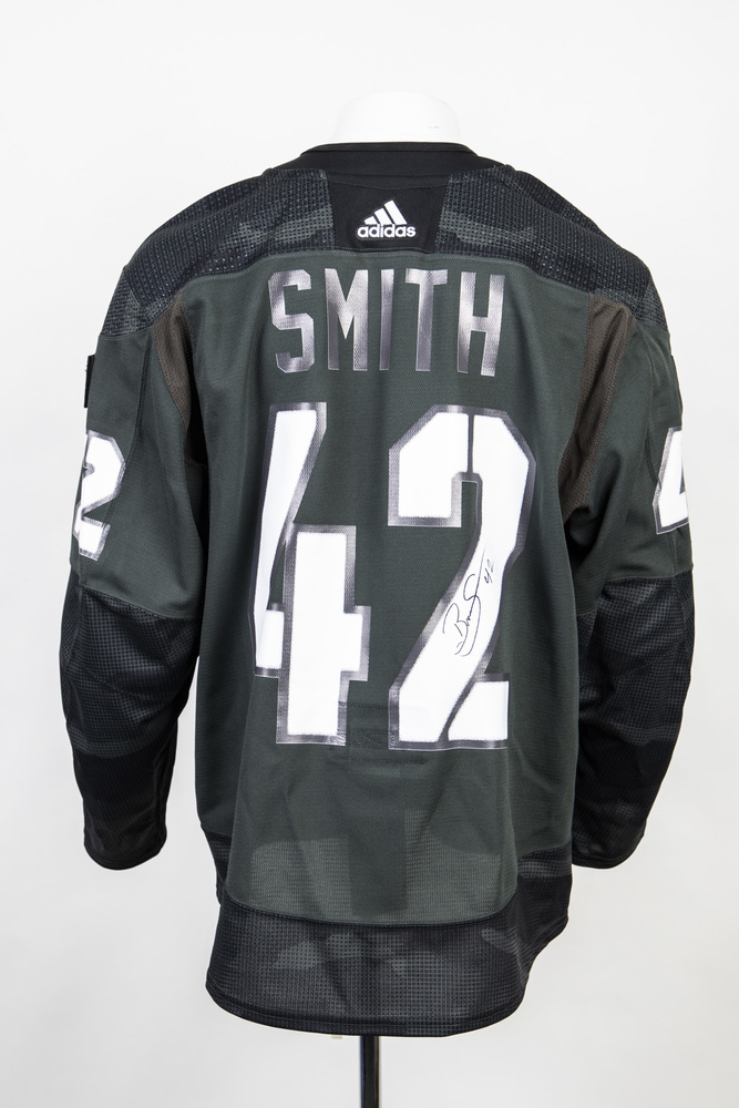 Veterans Night warm up jersey worn and signed by #42 Brendan Smith