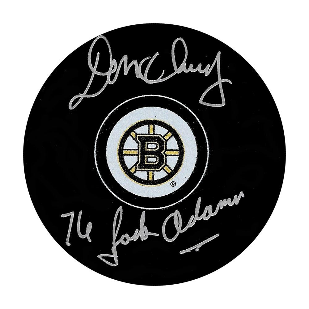 Don Cherry Autographed Boston Bruins Puck w/76 JACK ADAMS Inscription