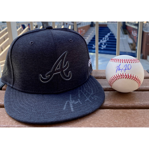Photo of Max Fried Autographed Hat and Baseball Combo
