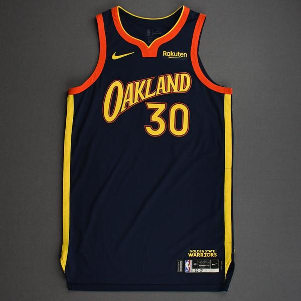 Image of Stephen Curry - Golden State Warriors - Game-Worn City Edition Jersey - Recorded a Double-Double - 2020-21 NBA Season