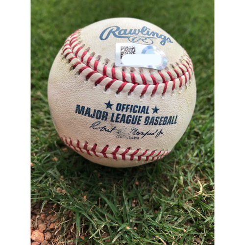 Photo of Game-Used Baseball -Kyle Gibson Strikes Out Teoscar Hernandez and Vladimir Guerrero Jr. Swinging - TOR @ TEX  - 4/7/2021 - Top 4