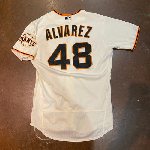 Photo of 2021 Game Used Home Cream Jersey worn by #48 Jose Alvarez on 4/9 vs. COL - Home Opening Day, 4/11 vs. COL & 4/12 - 2.1 IP, 3 K's - Size 44