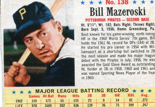 Photo of 1963 Post #138 Bill Mazeroski  -- Scrapbook residue on back