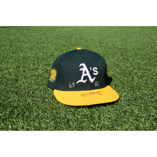 Photo of Oakland Athletics Game Used Autographed Darren Bush 50th Anniversary Cap
