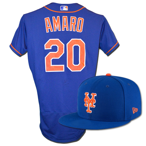 Photo of Ruben Amaro #20 - Game Used Blue Alt. Home Jersey and Hat - Worn on 9/13/18 vs. Marlins, and 9/28/18 vs. Marlins