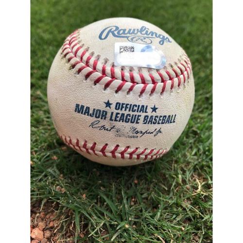 Photo of Game-Used Baseball - Justin Upton Single - 8/18/18