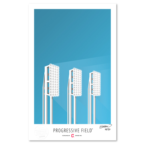 Photo of Progressive Field - Collector's Edition Minimalist Art Print by S. Preston #119/350  - Cleveland Indians