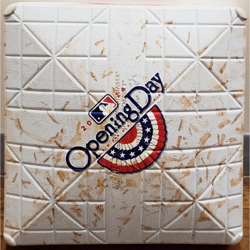 Photo of 2014 Opening Day Game-Used Base - Toronto Blue Jays at Tampa Bay Rays - 2nd Base Used In Innings 7-9 - 3/31/14