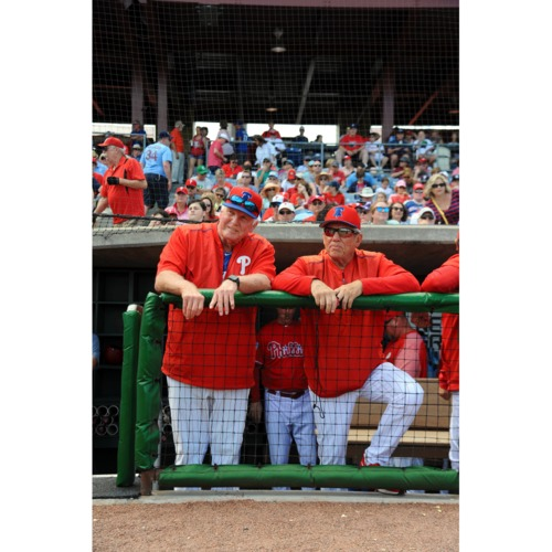 Photo of Phillies Legends Charlie Manuel and Larry Bowa Coach Your Baseball Team for a Game