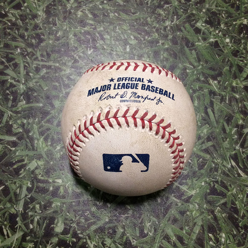 Photo of Game-Used Baseball CHC@MIL 04/05/19 - Taylor Williams - Anthony Rizzo: Hit By Pitch